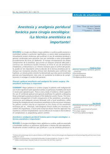 Anestesia y analgesia peridural torácica para cirugía oncológica ...