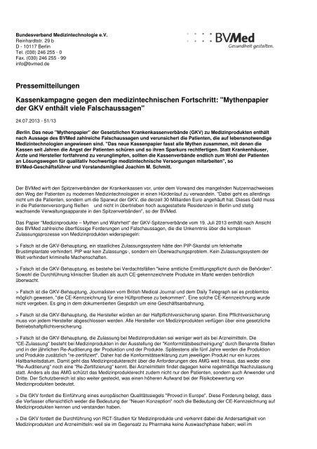 Pressemitteilungen Kassenkampagne gegen den ... - Werner Sellmer