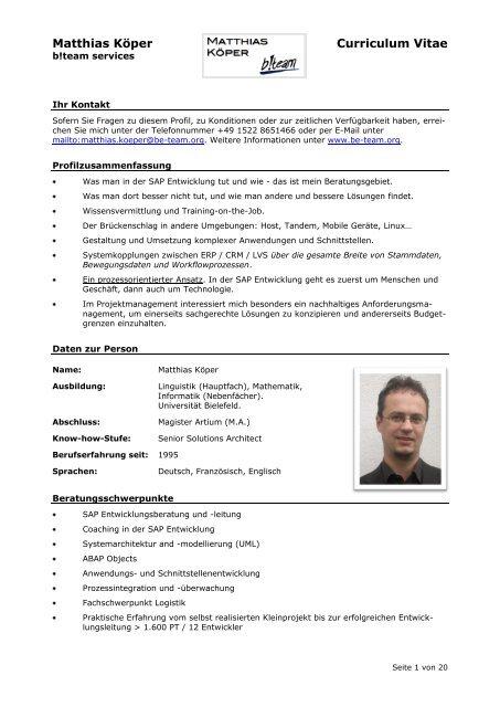 Matthias Koper Curriculum Vitae Be Team Services