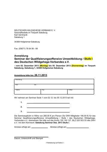 Anmeldung Seminar I - Deutscher-Wildgehege-Verband eV