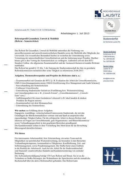 Muster Briefkopf Vorlage Hochschule Lausitz Stura