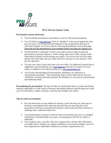 PPAI ADvocate Speaker Guide Presentation content and format ...
