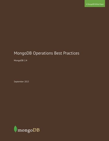 MongoDB Operations Best Practices