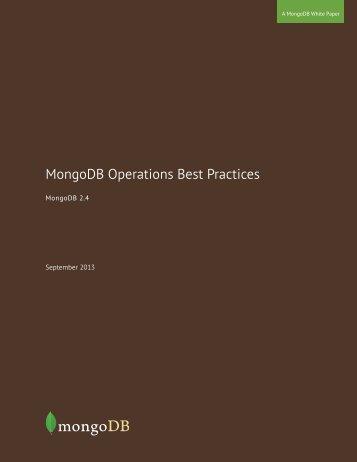 MongoDB Operations Best Practices