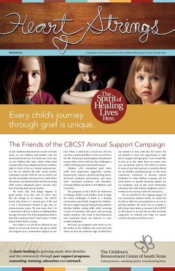 Winter 2012 Newsletter - Children's Bereavement Center of South ...