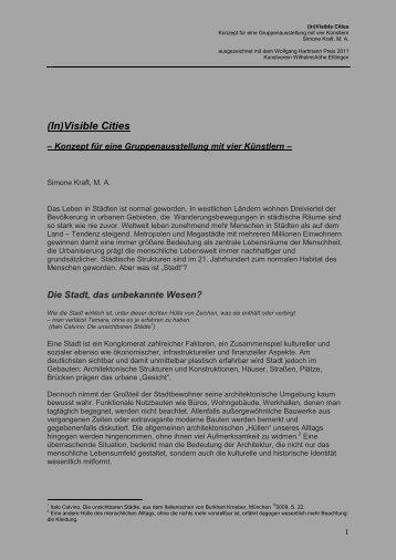 Konzept / Bewerbung - Wolfgang Hartmann Preis