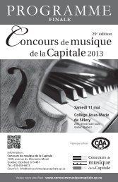 PROGRAMME - Concours de musique de la Capitale