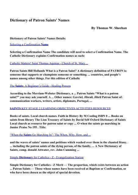 Download Dictionary of Patron Saints' Names pdf ebooks by