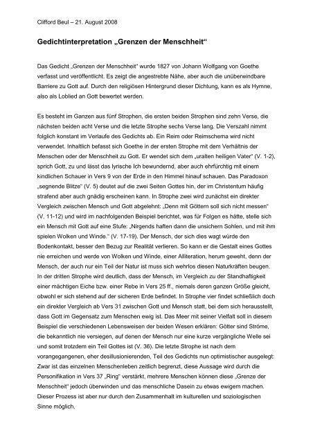 Goethe Interpretation Grenzen Der Menschheit