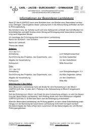Besondere Lernleistung - Carl-Jacob-Burckhardt-Gymnasium