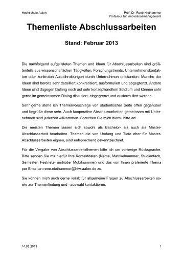 Themenliste Abschlussarbeiten - Hochschule Aalen