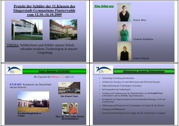 Projekt der Schüler der 11.Klassen des ... - SINUS-Stiftung