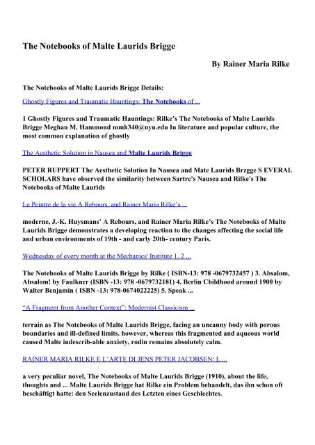 Download The Notebooks of Malte Laurids Brigge pdf ebooks by
