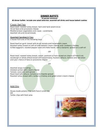 Dinner Menus - Best Western Novato Oaks Inn