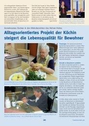 Alltagsorientiertes Projekt der Köchin steigert die Lebensqualität für ...
