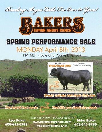 2013 Sale Catalog - Baker's Lemar Angus Ranch