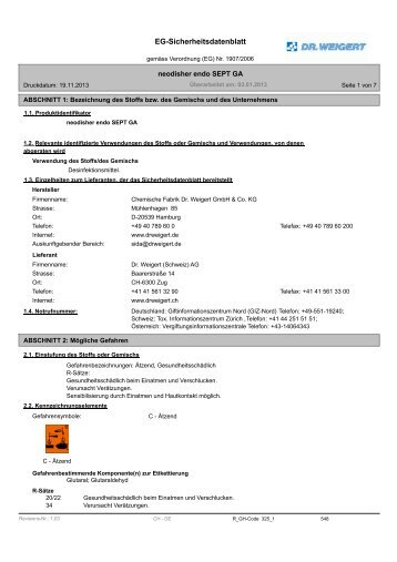 neodisher endo SEPT GA - Dr. Weigert Schweiz