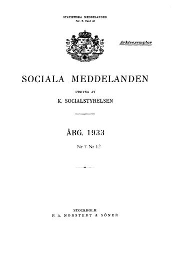 Sociala meddelanden. 1933: 7-12 (pdf) - Statistiska centralbyrån