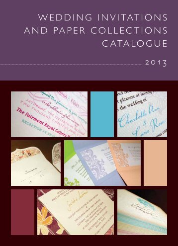 Wedding invitations and PaPer ColleCtions Catalogue 2013