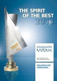 Einladung zur Einreichung 2013 - Magazin Award
