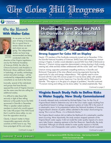 Winter/Spring 2011 Issue - Virginia Uranium