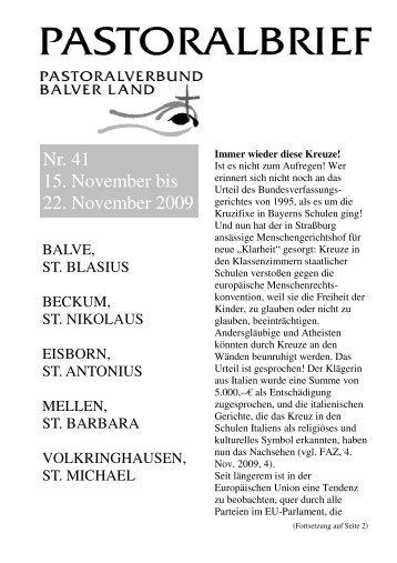Pastoralbrief 15.11. -  22.11.09 - Kath. Pfarrei St. Blasius zu Balve
