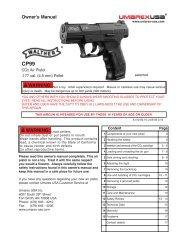 Owner's Manual WARNING: WARNING: - Umarex USA