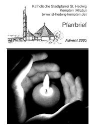 Pfarrbrief Advent 2003-2 - St. Hedwig