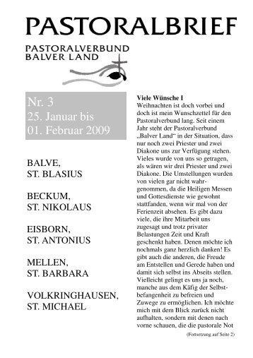 Pastoralbrief 25.01. -  01.02.09 - Kath. Pfarrei St. Blasius zu Balve