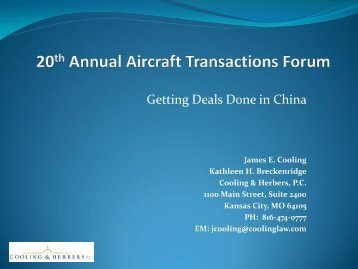 20th Annual Aircraft Transactions Forum - Cooling & Herbers, P.C.