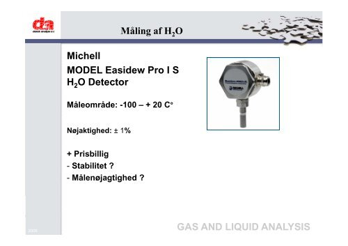 gas and liquid analysis - Dansk Gas Forening