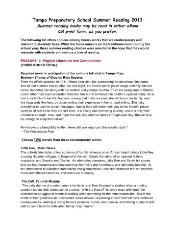 Grade 12 Summer Reading Assignments 2013 - Tampa Preparatory ...