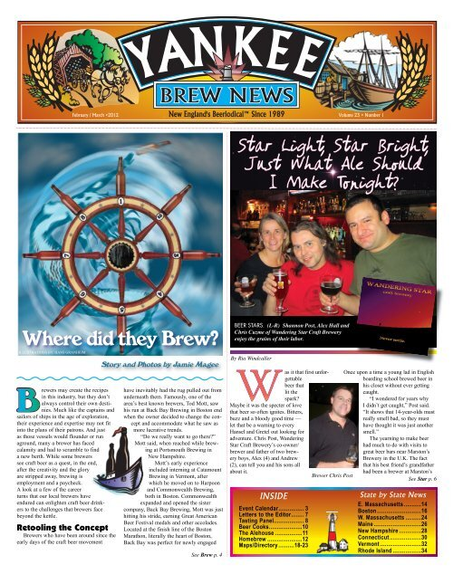 Wandering Star is the featured brewery in Yankee Brew News ...