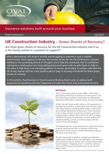 UK Construction Industry – Green Shoots of Recovery? - Oval