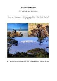 Berghorizonte Angebot 15 Tage Safari und Kilimanjaro Kilimanjaro ...
