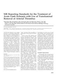 SIR Reporting Standards for the Treatment of Acute Limb Ischemia ...