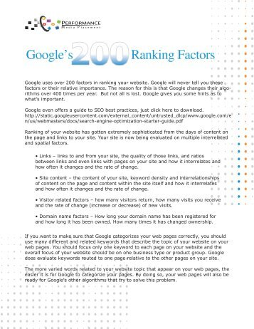 Google's Ranking Factors - Performance Media Placement