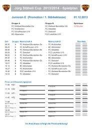 Jürg Stäheli Cup 2013/2014 - Spielplan
