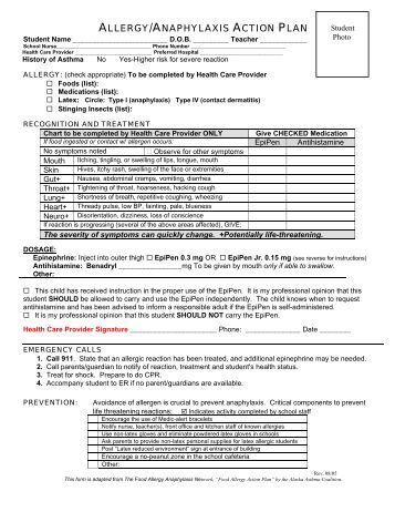 allergy action plan australia pdf