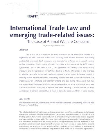 International Trade Law and emerging trade-related issues: