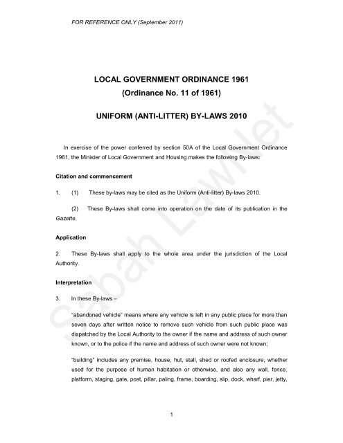 Kudat Town Board (Anti-litter) By-laws 1984 - Sabah