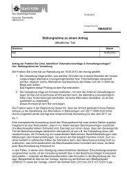 Stellungnahme zu einem Antrag (Rat) - Vorlage 1864/2012