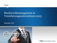 Studie Beschwerdemanagement - Versicherungsforen Leipzig