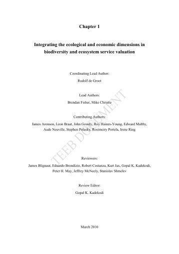 Chapter 1 Framework of integration of ecology and economy ... - TEEB