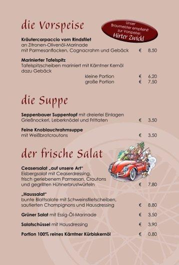Seppenbauer Speisekarte