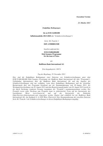 Inflationsanleihe 2013-2020, Serie 46 - Investor Relations