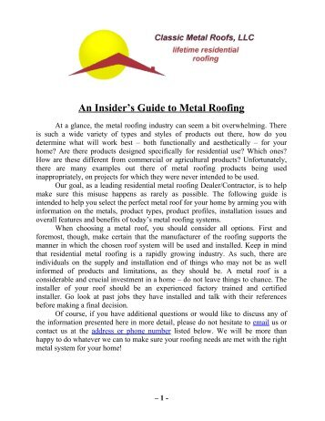 An Insider's Guide to Metal Roofing - Jubilee101