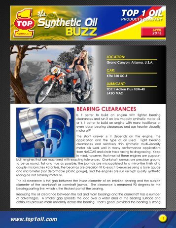 Bearing ClearanCes - Top 1 Oil