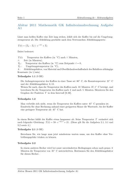Abitur 2011 Mathematik GK Infinitesimalrechnung Aufgabe A1