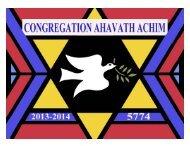 2013-2014 Synagogue Calendar - Congregationahavathachim.org